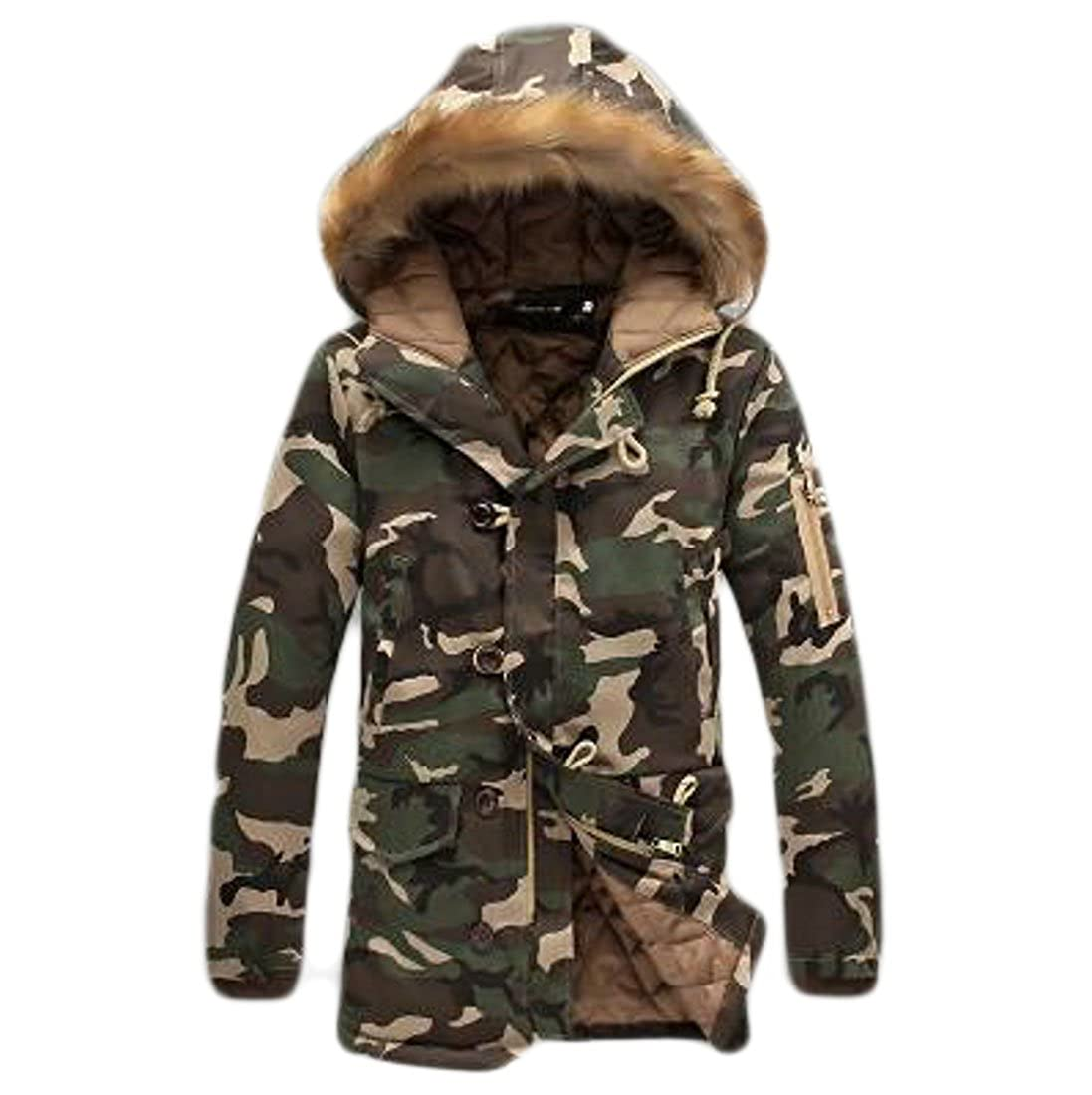 UUYUK-Men Winter Warm Camo Hooded Faux-Fur Trim Quilted Padding Parka Coats