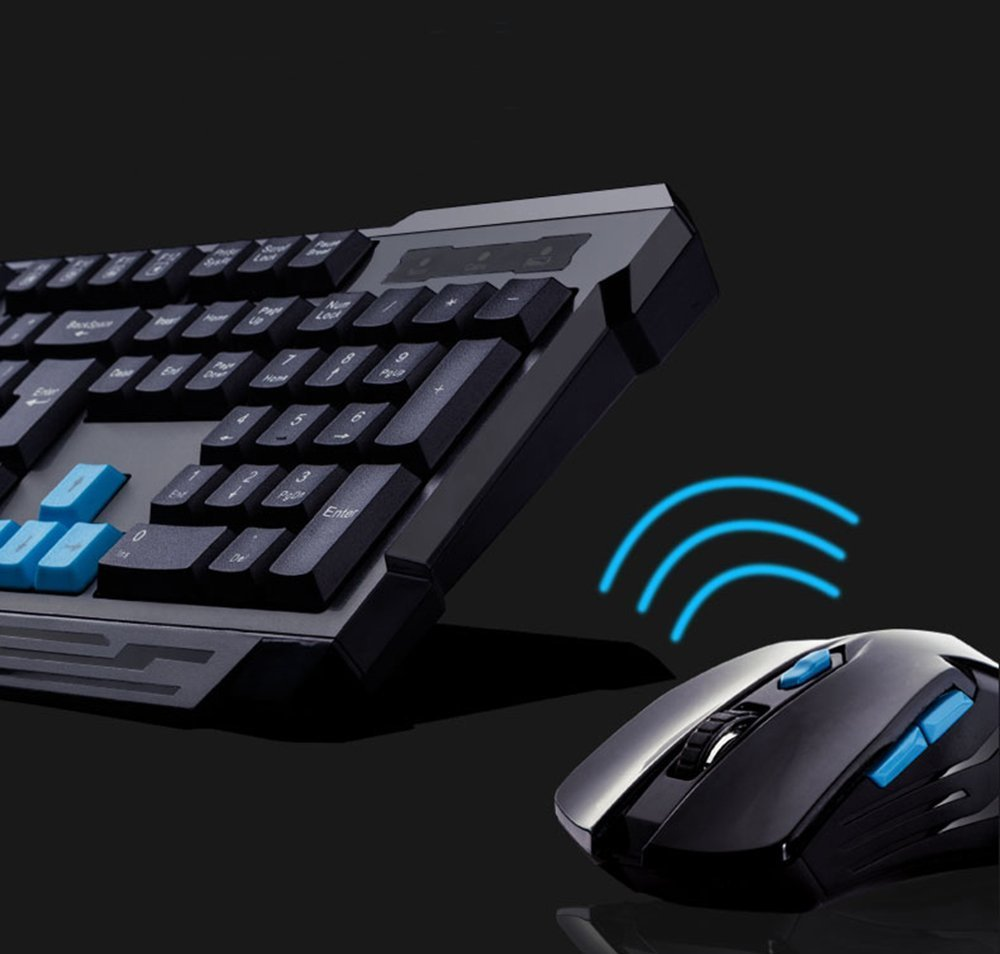 Keyboard Mouse Combos,Soke-Six Waterproof Multimedia 2.4GHz Wireless Gaming Keyboard with USB Cordless Ergonomic Mouse DPI Control For Desktop PC Laptop(Black) by Soke-Six (Image #5)