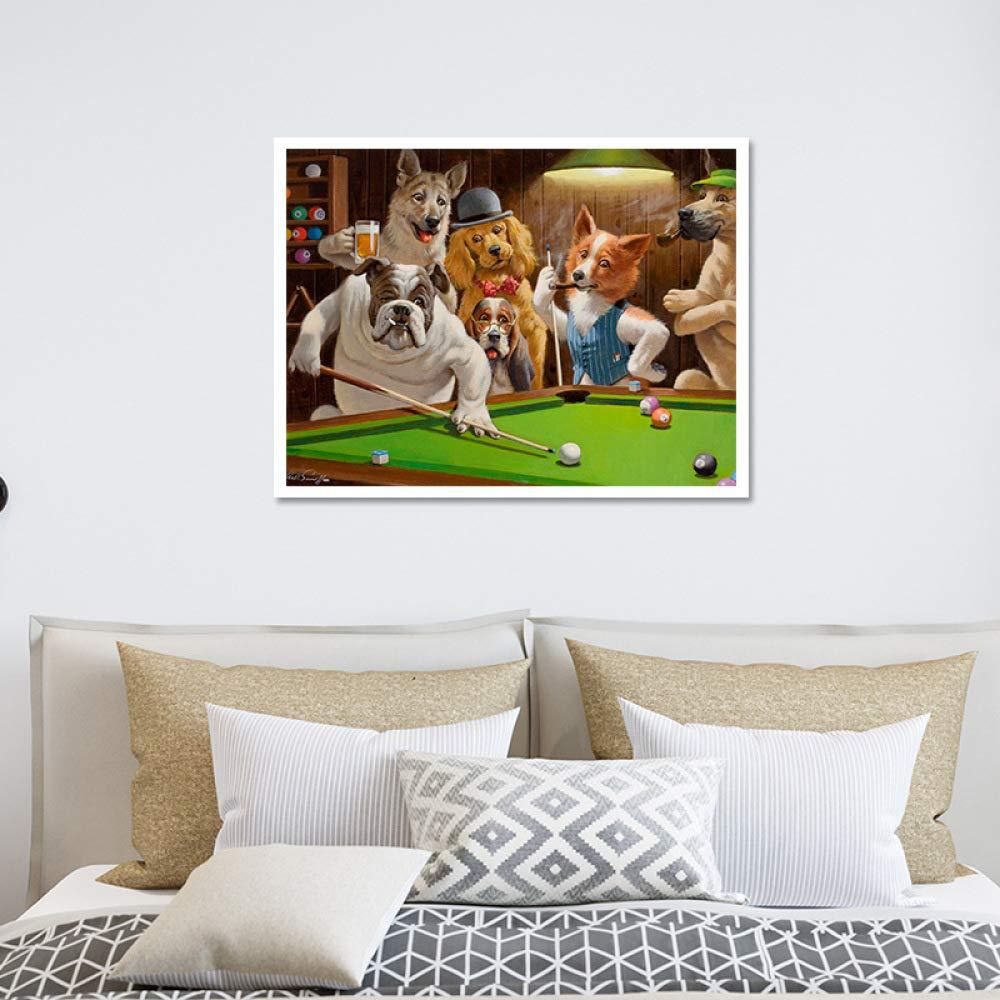 baodanla Aucun Cadre Animal Chien Renard Jouant au Billard d/écoration de Maison Peinture A1 30X40CM
