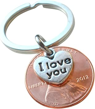 NEW PAIR OF 8th WEDDING ANNIVERSARY GIFT BRONZE 2012 2p COIN KEYRINGS