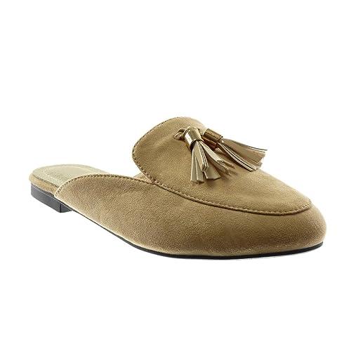 Angkorly Zapatillas Moda Babuchas Slip-On Mujer Pompom Fleco Dorado Tacón Ancho 1.5 cm: Amazon.es: Zapatos y complementos