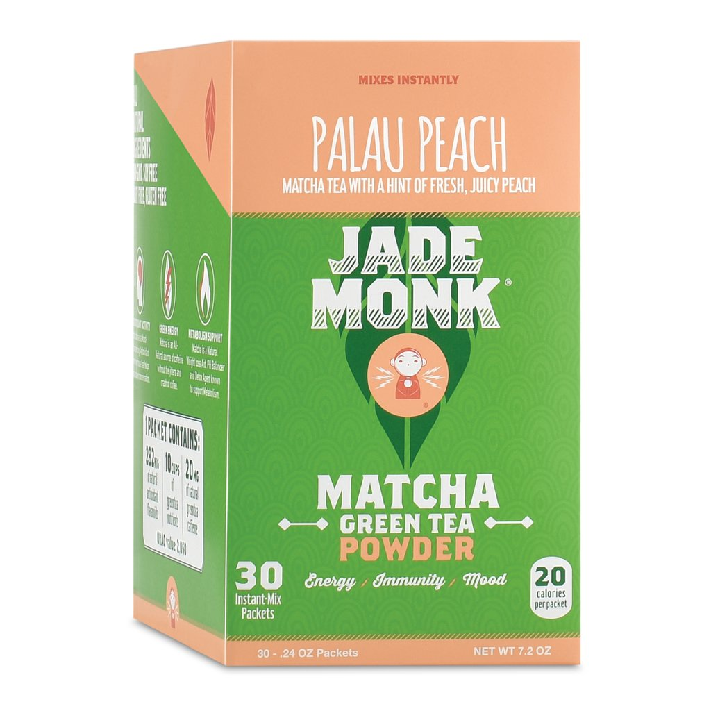 Matcha Green Tea Powder 100% Natural Antioxidant Infused Nutrient Rich Drink Mix, Palau Peach, 12 Single Serving Packets - Great For Home And On The Go Jade Monk SYNCHKG081675