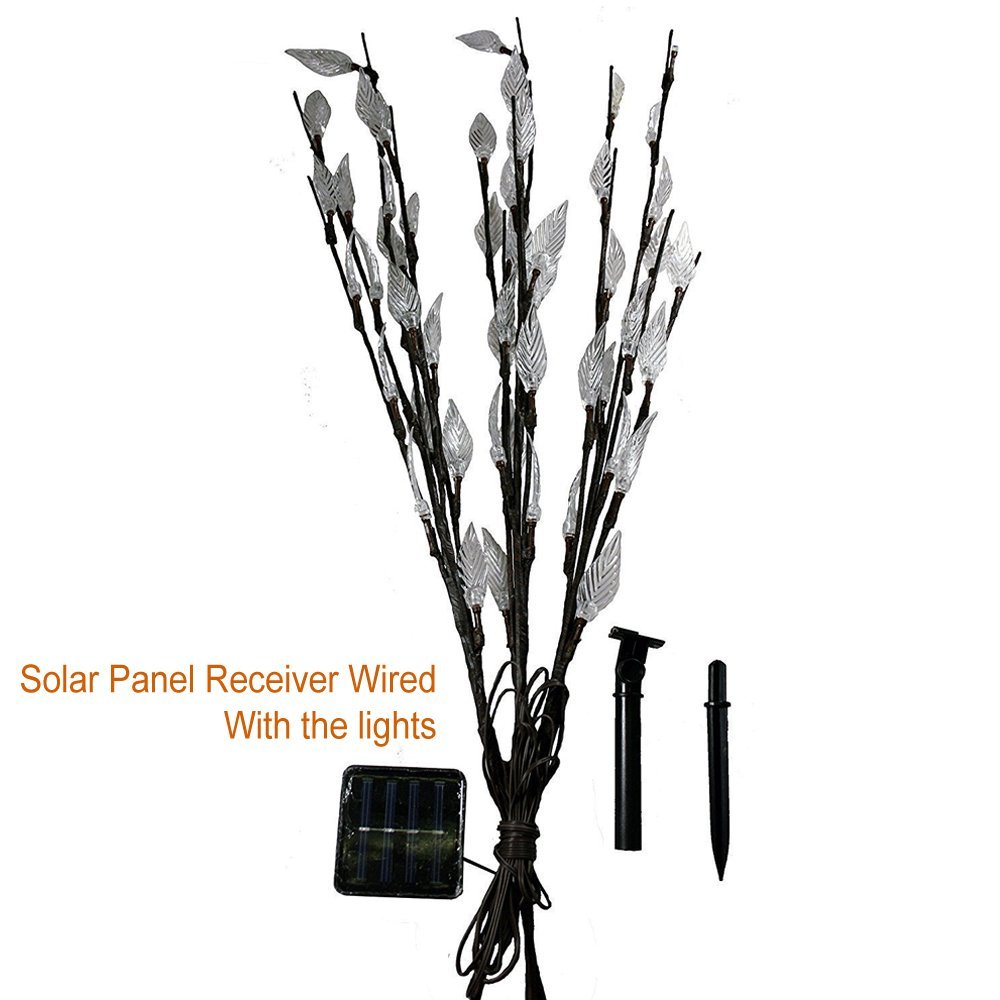 Multi Colour Set of 3 Solar Tree Branch Twig Leaf Outdoor Garden LED Lights White Color Decorative Garden Patio Lamp Makes Garden and Tree Leaf Beautiful Sun Powered Eco