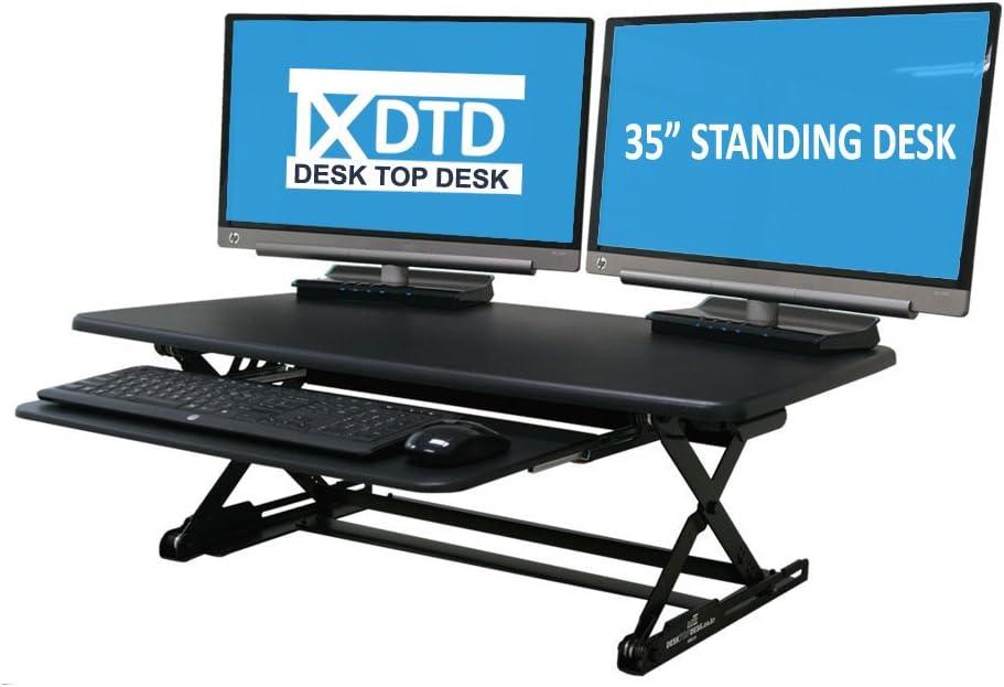 DTD DESK TOP DESK – Standing desk riser with sliding keyboard tray, 35-Inch, DTD-M-MBK-SK