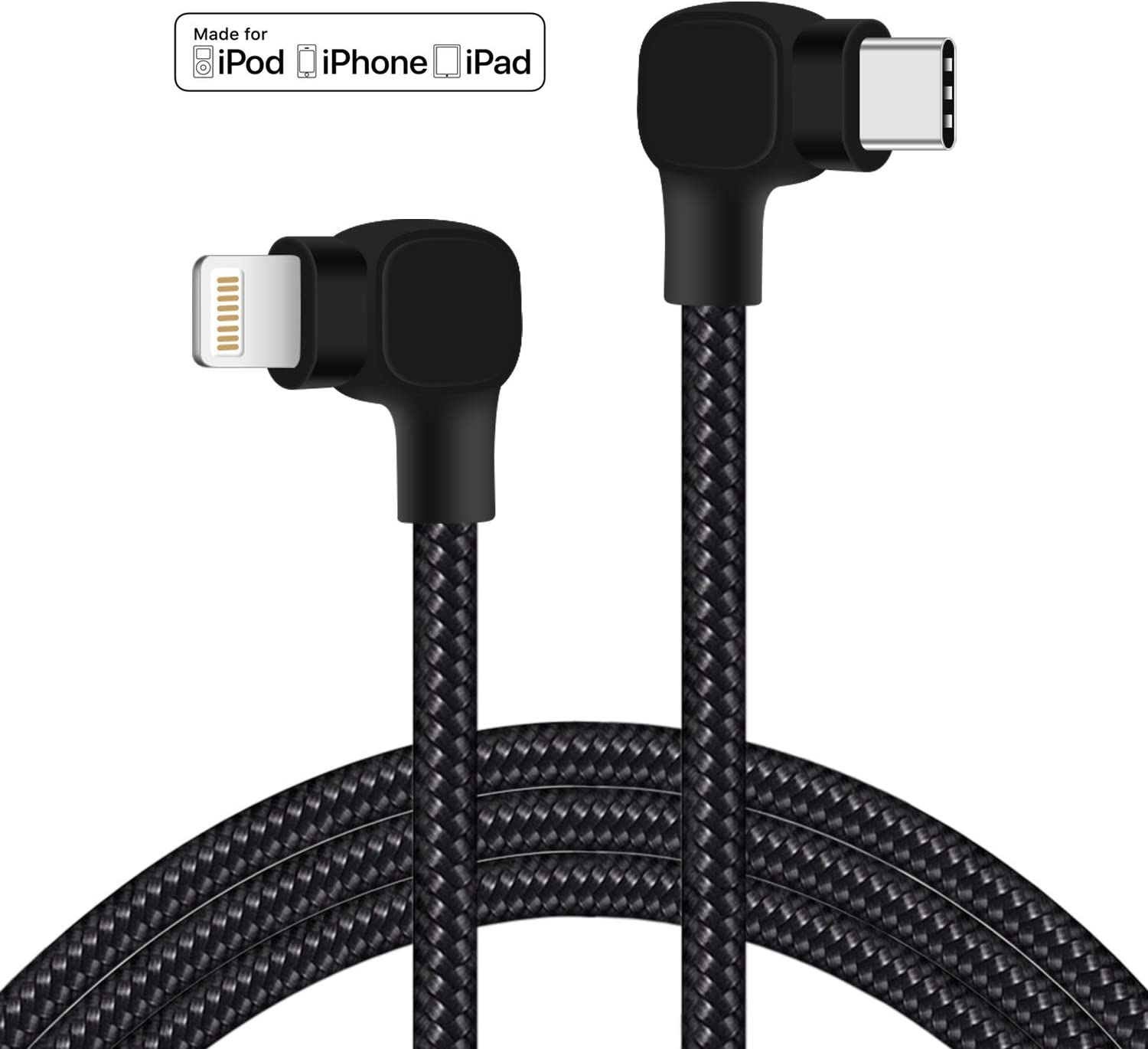 90 Degree MFI Certified USB C to Lightning Cable 5ft Right Angle Type C to iPhone Charger Cable Durable Braided Nylon Data Sync Fast Compatible with iPhone 12 11 Pro/XS/XR Max (Black)