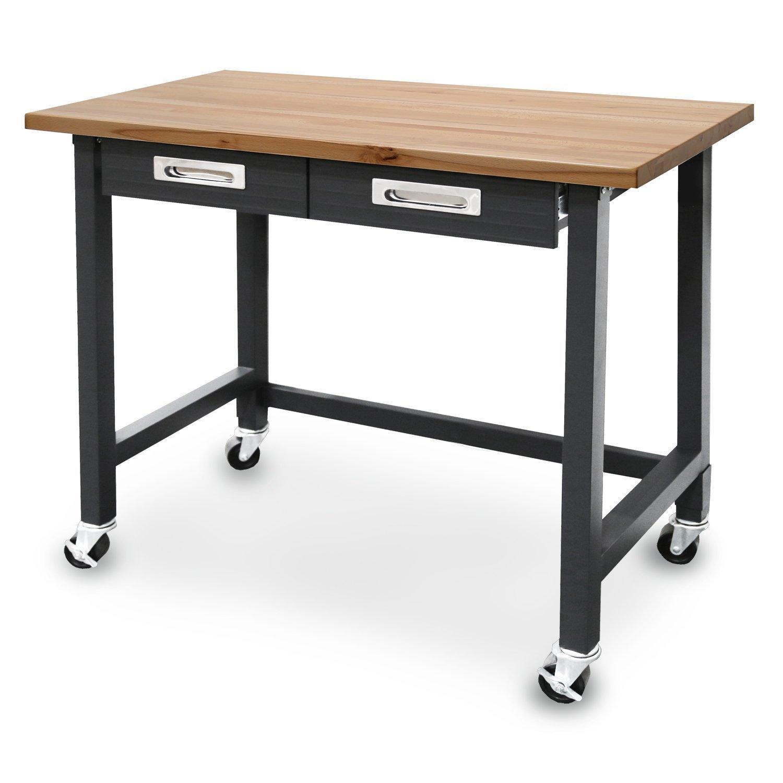Seville Classics (UHD20271B) UltraGraphite Wood Top Workbench on Wheels (48W x 24.7D x 37.4H Inches) Graphite