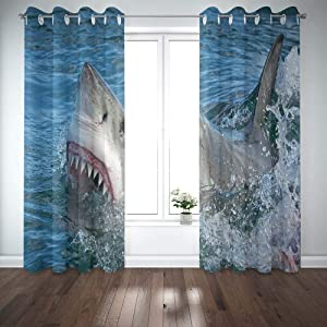 Shorping Window Curtains, Window Panels Sliding Blackout Curtains Great White Shark Carcharias Country Shower Curtain for Bedroom 52X63 Inches,2 Pc