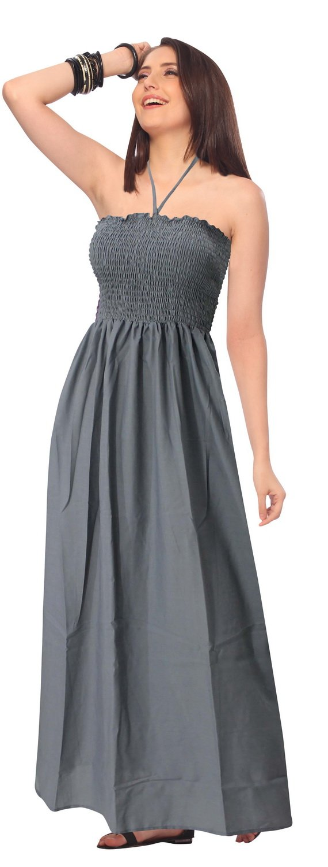 LA LEELA Rayon Solid Womens Wedding Maxi Tube Evening Midi Grey 2088 One Size