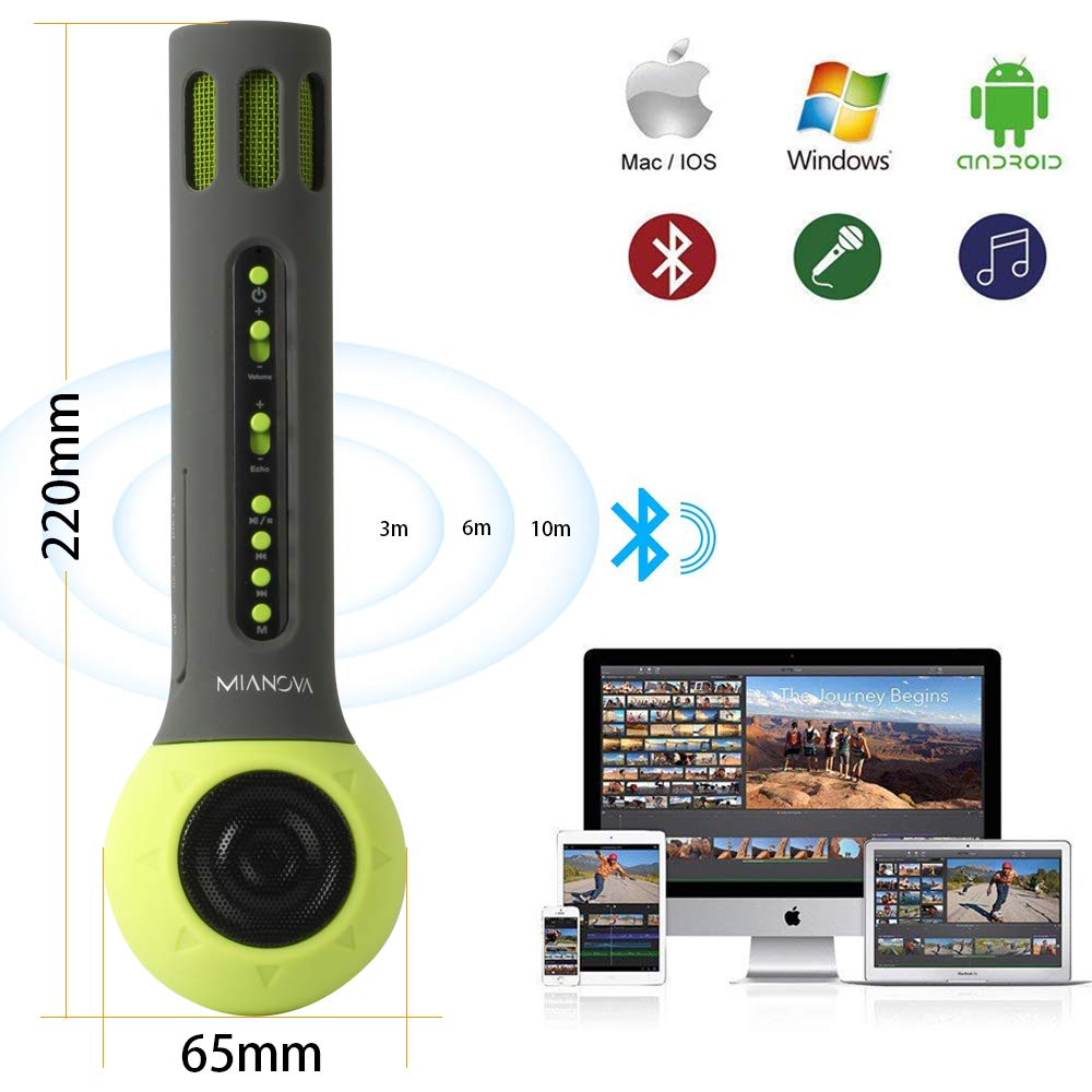 Wireless Bluetooth Kids Karaoke Microphone with Carrying Case,MIANOVA Build-in 2000mAh Colorful Silicone Surface Karaoke Machine for Kids.IOS & Android Smartphone,TF Card,AUX-In Supported (Kid-Green)