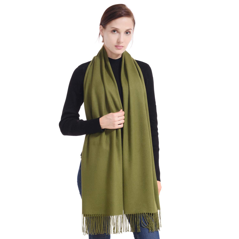 Olive Green LERDU Ladies Cashmere Pashmina Scarf Wool Wrap Shawl Winter Stole for Women Grey