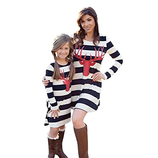 d4f0250f18 Amazon.com: TLoowy Christmas Matching Family Clothes Mommy Me Women Girls  Striped Deer Print Long Sleeve T-shirt Dress: Clothing