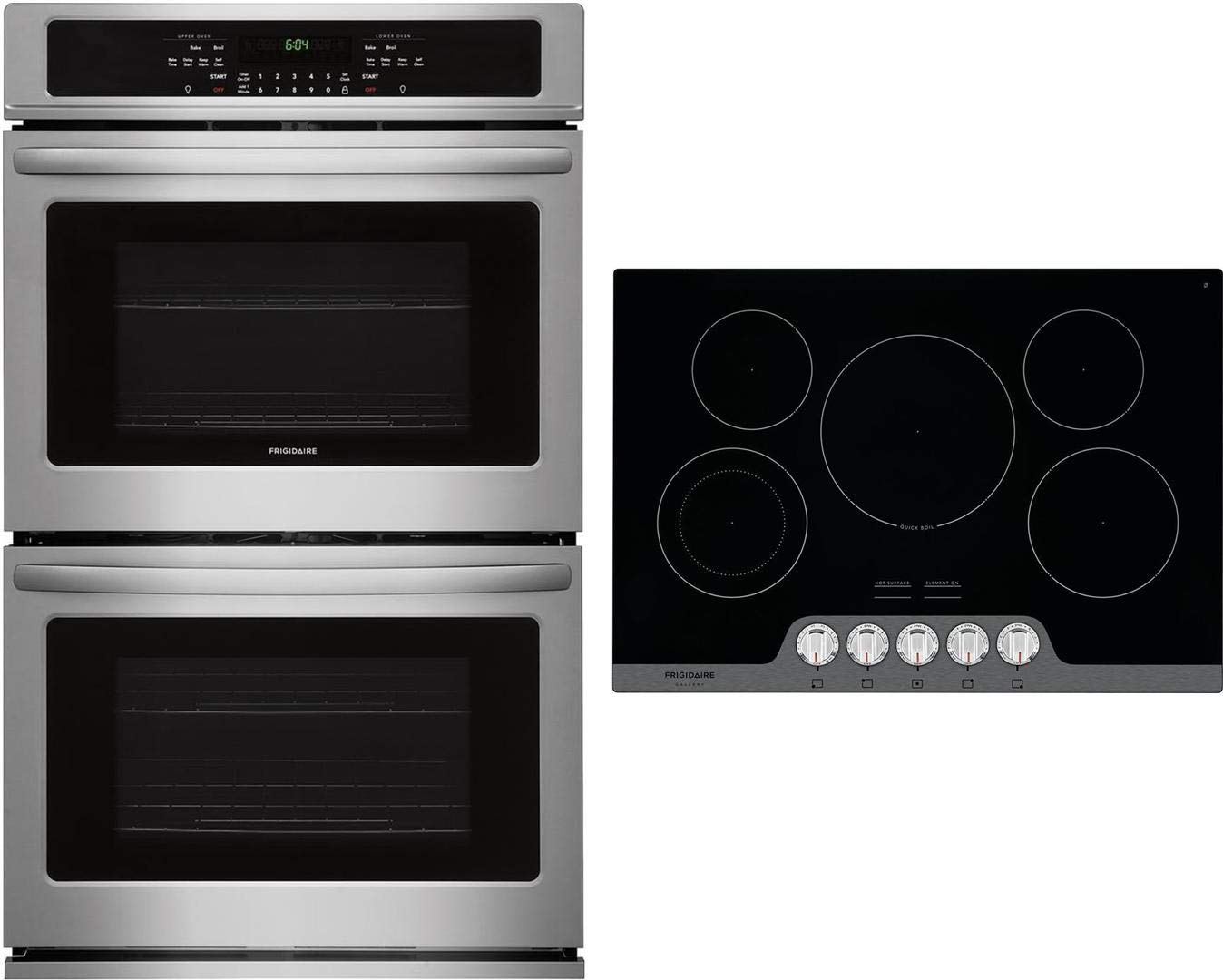 "Frigidaire 2 Piece Kitchen Appliances Package with FFET3026TS 30"" Electric Double Wall Oven and FGEC3068US 30"" Electric Cooktop in Stainless Steel"