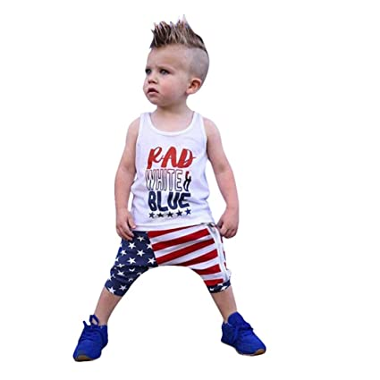 888323adbf05 Amazon.com  Toddler Baby Girls Boys Summer Outfits Clothes Cuekondy Stars Striped  4th Of July Tops Vest T Shirt Pants Set (3T