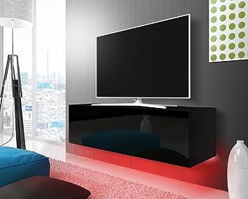 Tv schrank schwarz  TV Schrank Lowboard Hängeboard SIMPLE mit LED Rot (schwarz matt ...