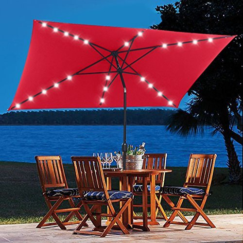 10 ft Rectangular Solar Powered Umbrella Iron Steel 26 LED Lighted Push Button Auto Tilt Crank Adjustment System Deluxe for Shade Outdoor Market Backyard Patio Table Deck Poolside Red (Table Jardin)