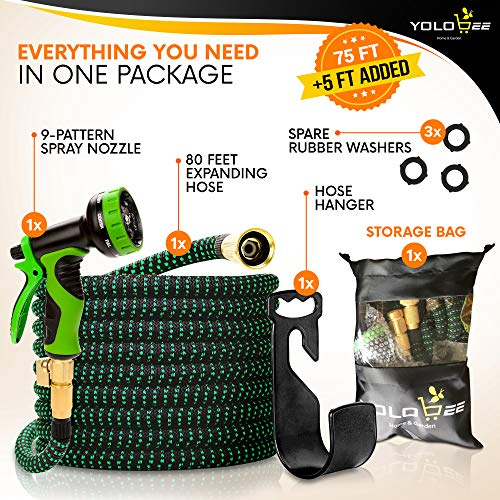 Yolobee Garden Hose 80 Feet, Expandable, Lightweight, High Density 3750D Outer Fabric, Durable Double Latex Core, Bundle with Spray Nozzle and Accessories 5 Items
