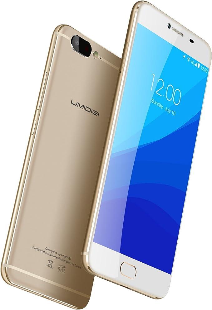 UMIDIGI Z Smartphone Libre Android (Pantalla 5.5 , 4G LTE Doble SIM, Deca-core Helio X27 CPU 2.6Ghz, 4GB Ram 32GB Rom, Android 6.0 (Actualización Android 7.0), Cámara de 13 MP, Sensor de