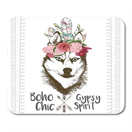 Amazon Com Mouse Pads Close Up Portrait Of Siberian Husky Wearing