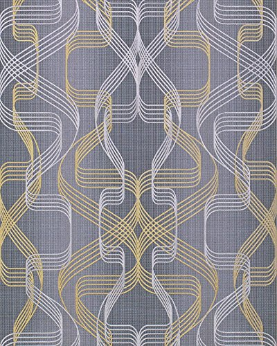 Graphic-wallpaper wall EDEM 507-26 blown vinyl wallpaper textured with abstract pattern and metallic highlights grey basalt-grey pearl-gold silver 5.33 m2 (57 - Basalt Gold