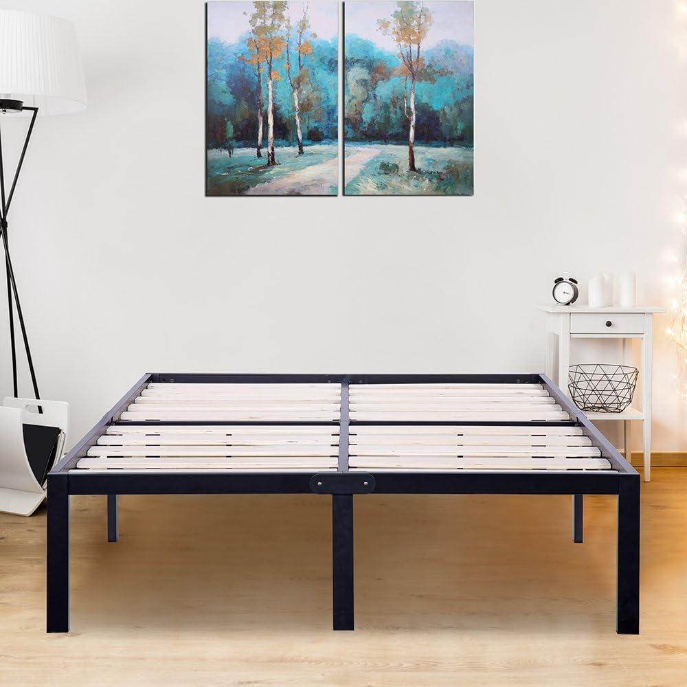 SLEEPLACE 14 Inch ST-3000 Ultra 3 Inch Wood Slat Bed Frame, Full