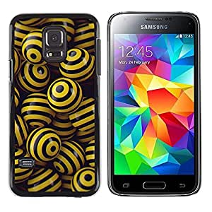 Samsung Galaxy S5 Mini (NOT for S5) / Galaxy S5 Mini Duos , Radio-Star - Cáscara Funda Case Caso De Plástico (Black & Yellow Balls)