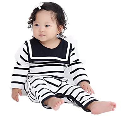 Ding Dong Baby Boys Girls Striped Navy Romper Black M