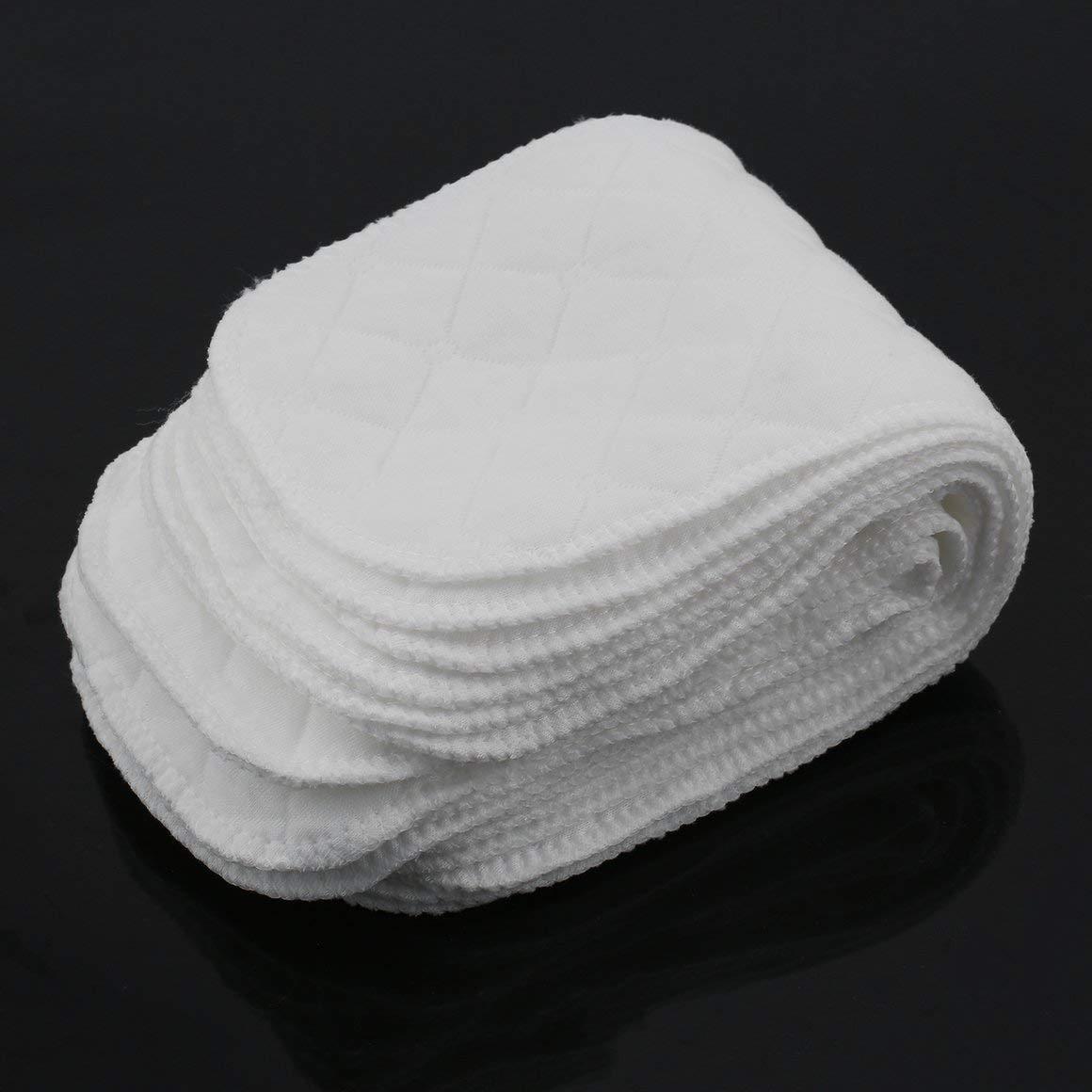 Paperllong/® Baumwolle 10 Teile//Satz Weiche Atmungsaktive Wiederverwendbare Reine Baumwolle Baby Stoffwindel Windel Liner Insert 3 Schichten