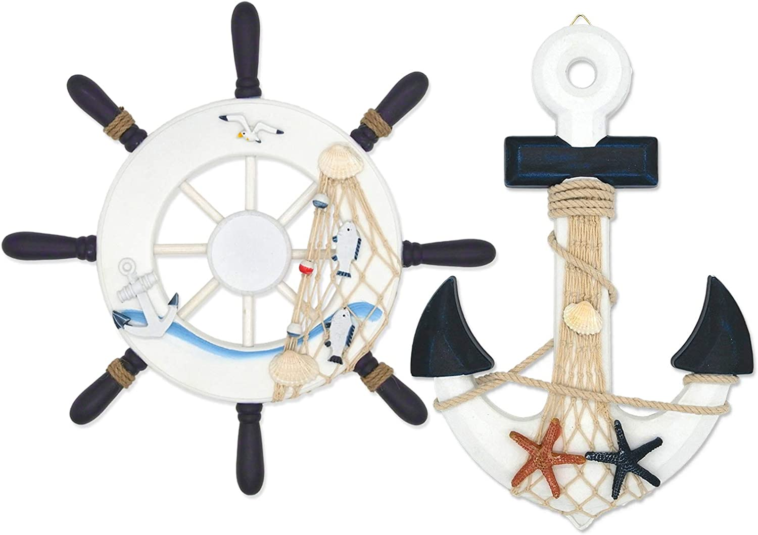 """ESTART 2 Pack 13"""" Nautical Decor Beach Wooden Ship Steering Wheel and Wood Anchor with Fishing Net Rope, Nautical Boat rudder Wall Decoration Door Hanging Ornament, Beach Theme Decor for Home (13""""-1)"""