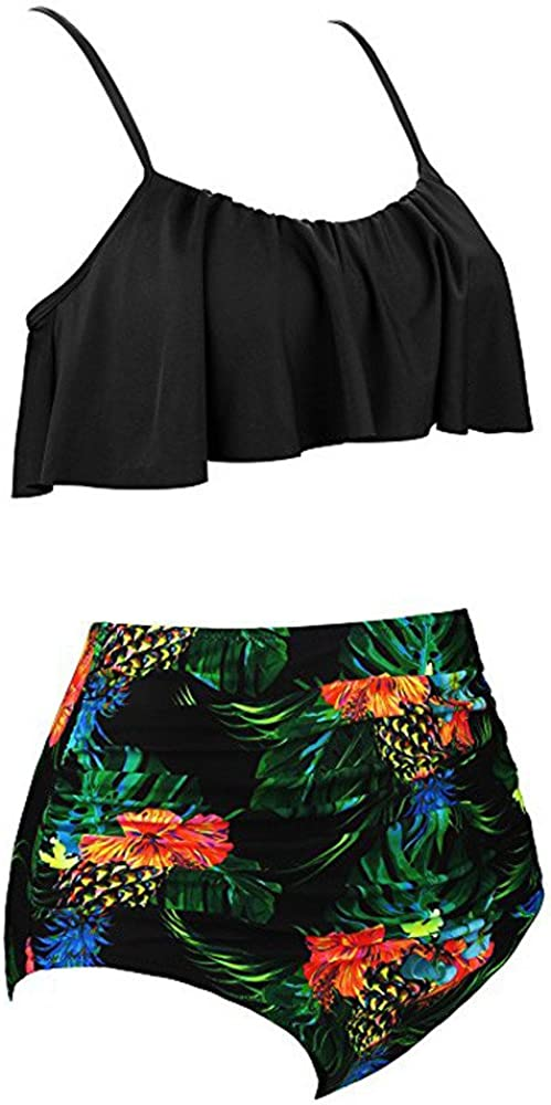 Malloom 2019 Plus r/écent Femmes Taille Haute Bikinis Set Retro Style de Tribu Volants Bikini Beachwear Maillots de Bain Tankinis