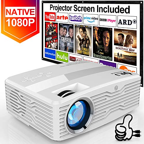 [Native 1080P Projector] DR. J Professional 6800Lumens LCD Projector Full HD Projector 300
