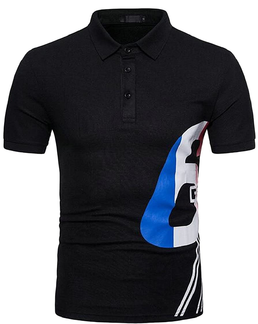 lovever Men Short Sleeve Polo T Shirt,New Lapel Business Casual Polo T Shirt