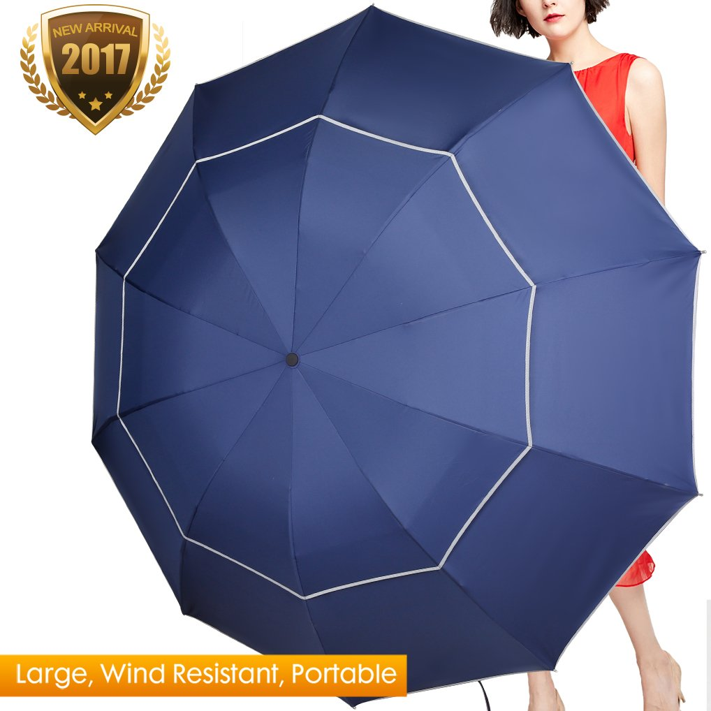 Extra Large Golf Umbrella, 60 Inch Plus Big Lightweight & Sturdy Travel Umbrellas with Compact Folding Size 11.8