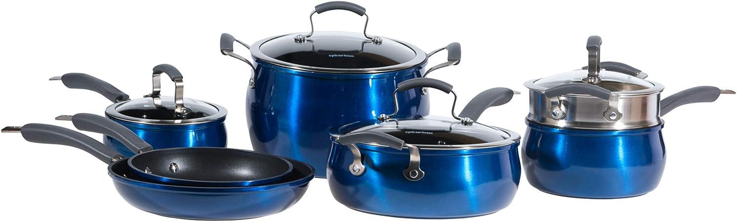 Epicurious Cookware Collection- Dishwasher Safe Oven Safe, Nonstick Aluminum 11 Piece Arctic Blue Cookware Set