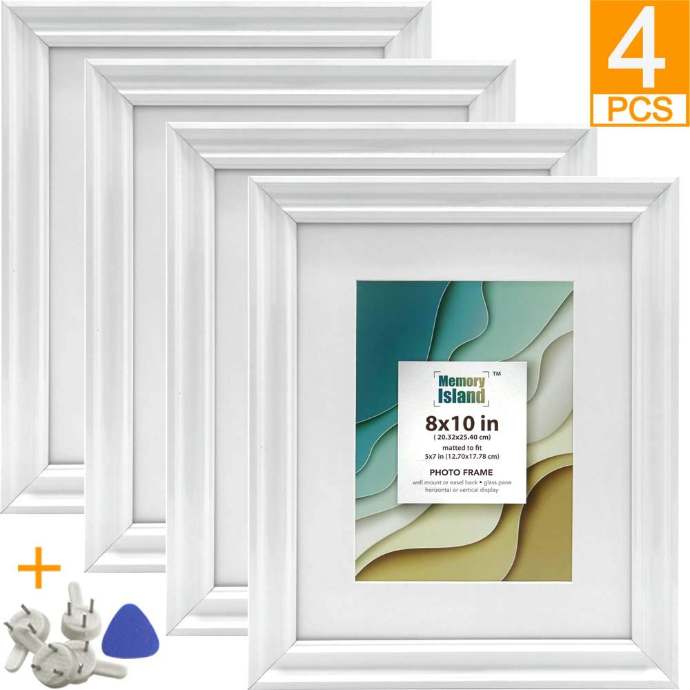 Memory Island, 8x10 Picture Frames with 5x7 Mat, Set of 4 Pack in White, Vertical or Horizontal Display for Wall or Tabletop. Glass Fronts Photo Frame. by Memory Island
