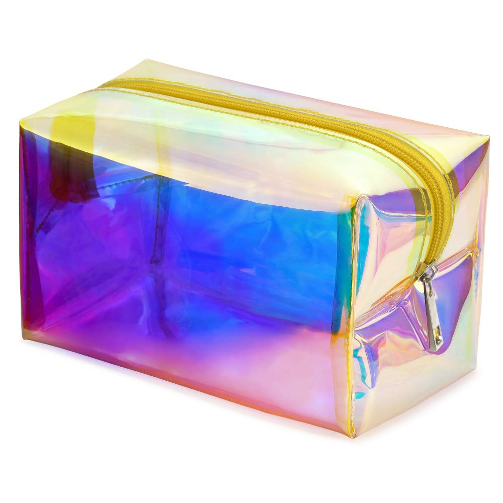 Holographic Makeup Bag, Veckle Clear Cosmetic Bag Large Travel Iridescent Toiletry Pouch Clutch Purse Organizer Hologram Handbag Make-up Storage Cases for Women Girls Gold Yellow Zipper