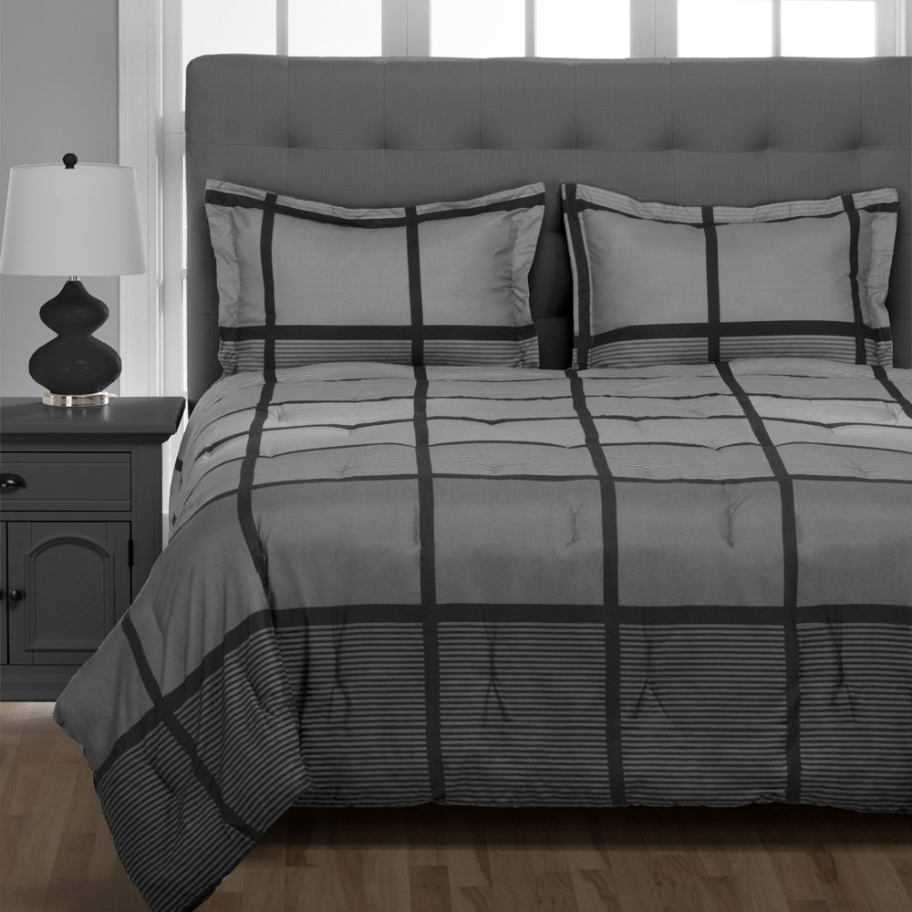 Rockland 5-Piece Twin XL Dorm Bedding Set, Twin Extra Long - Bed in A Bag Includes Comforter, Pillow Sham, and Gray Sheet Set