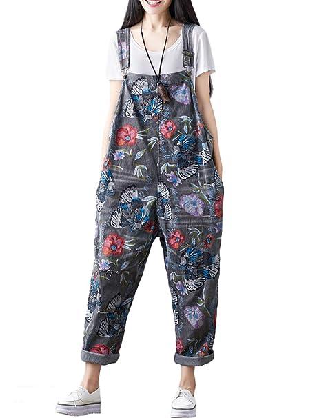 Mallimoda Damen Latzhose Hosentr/äger Spielanzug Harem Jumpsuit Overalls Casual Hosen mit Taschen