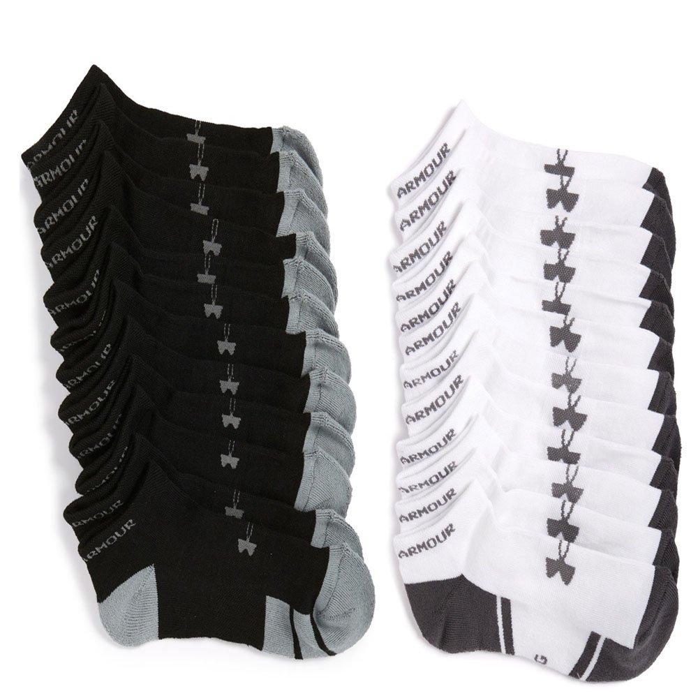 Men's Under Armour Resistor No-Show Socks (Large, 6 Black/6 White)