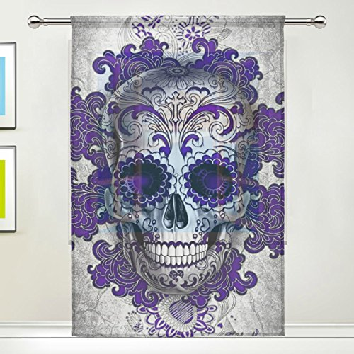 (TSWEETHOME Window Treatments Sheer Curtains Draperies with Purple Floral Skull for Living Room, Bedroom, Nursery Sliding Glass Door Rod Pocket Process )
