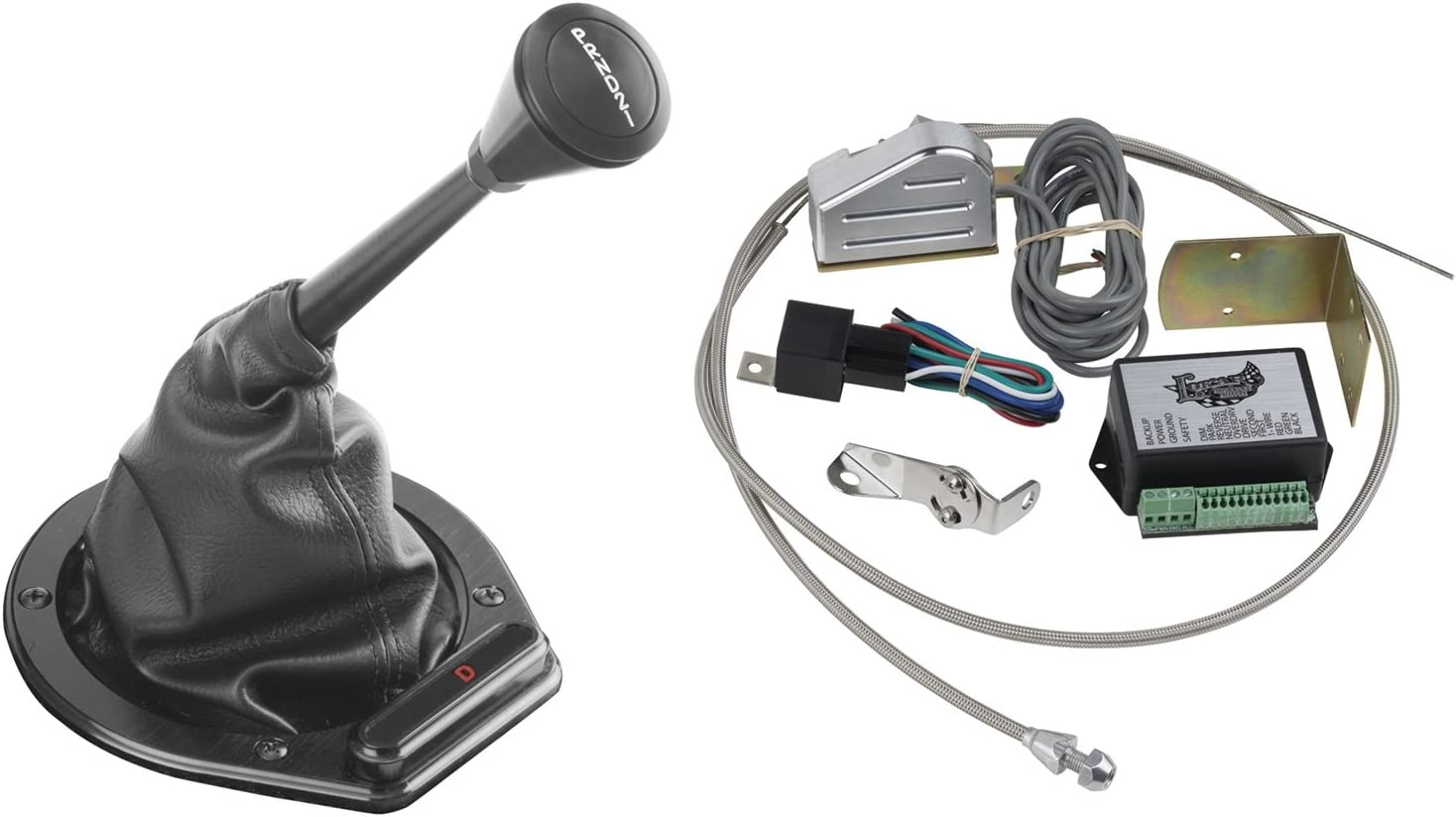 Lokar XCINB-1747 Black Cable Operated Horizontal Round LED Boot Indicator with Boot Kit for GM 350 Transmission