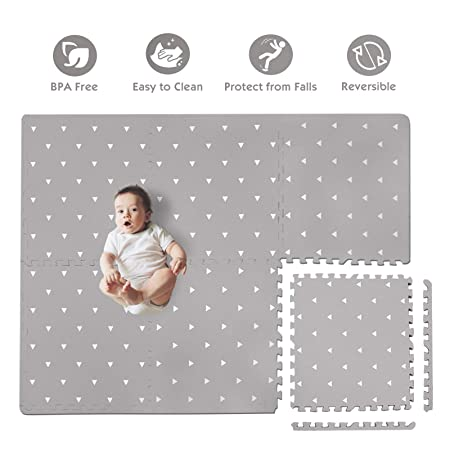Baby Play Mat with Fence – Extra Large 4FT x 6FT , Non Toxic Foam Puzzle Floor Mat for Kids