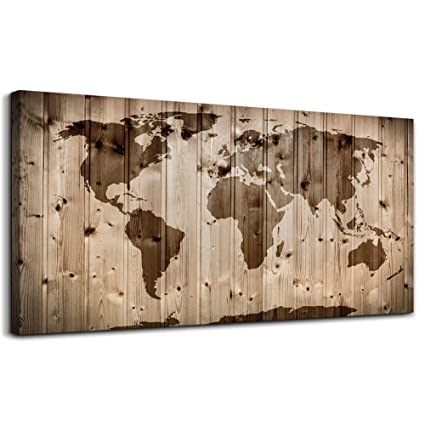Vintage World Map Wall Art Living Room Bedroom Decoration Modern Map  Painting Prints Contemporary Wood Grain Canvas Artwork Retro Map of The  World for ...