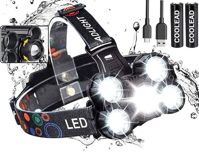 Linterna frontal LED Recargable de Trabajo, 8000 Lúmenes, 4 Modos de Luz con Flash, Zoom in/out, Ligera Elástica, Impermeable para Ciclismo, Correr, ...
