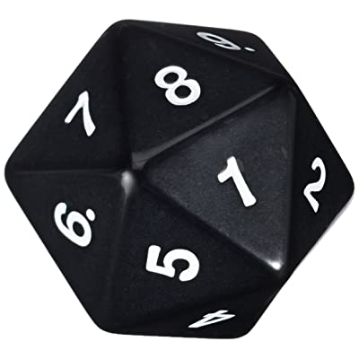Koplow Games 55mm Jumbo D20 Opaque Black with White Numbers: Toys & Games