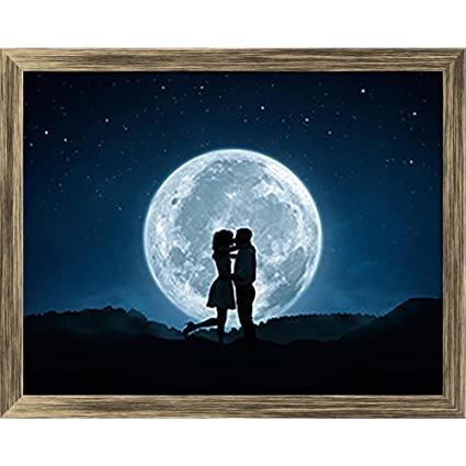 pitaara box couple kissing against the full moon canvas painting