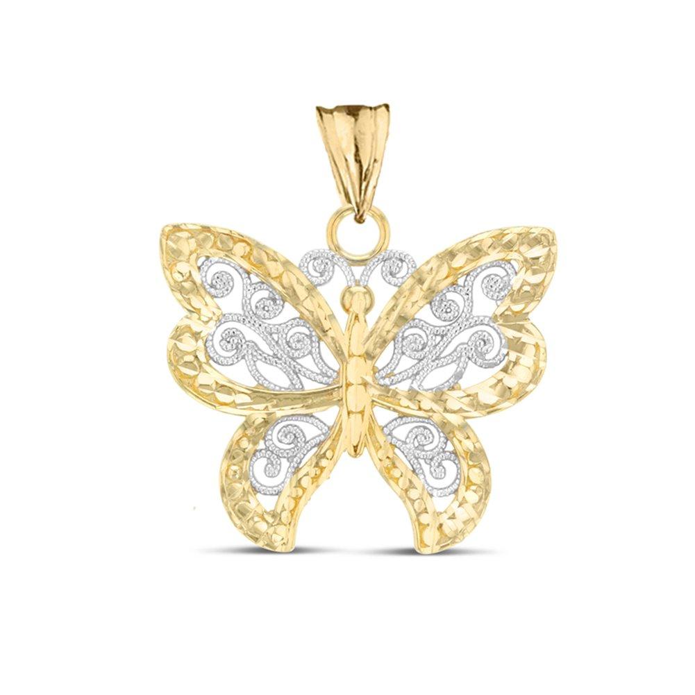 Elegant 10k Two-Tone Yellow Gold Filigree /& Sparkle-Cut Butterfly Charm Pendant