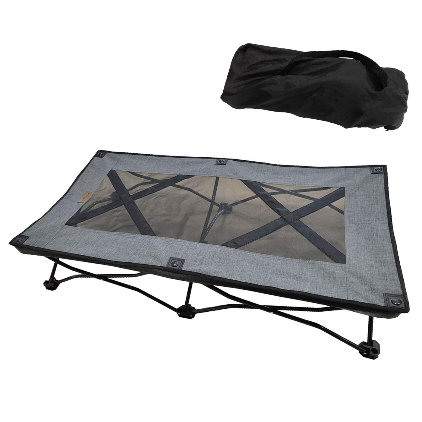 YEPHHO Large Elevated Folding Pet Bed Cot Travel Portable Breathable Cooling Textilene Mesh Sleeping Dog Bed 46 Inches Long (Grey) by YEPHHO
