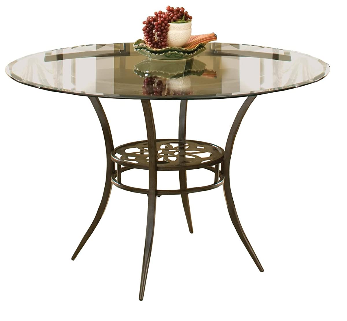 """Hillsdale Marsala 48"""" Round Dining Table, Gray Finish with Rubbed Brown Accents"""