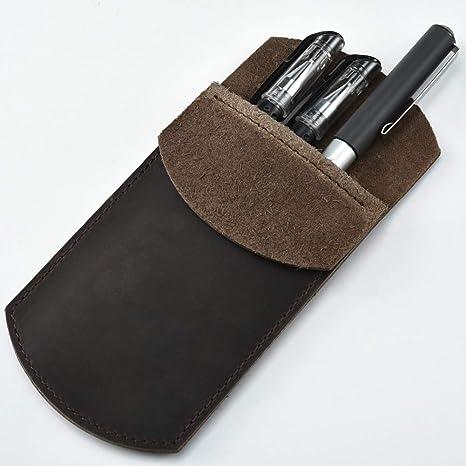 Cizen Estuche de Cuero, Protector de Bolsillo de Cuero Estuche para Lápices, Protector de Bolsillo Duradero Vintage para Bolígrafo, Stylus Touch Pen ...