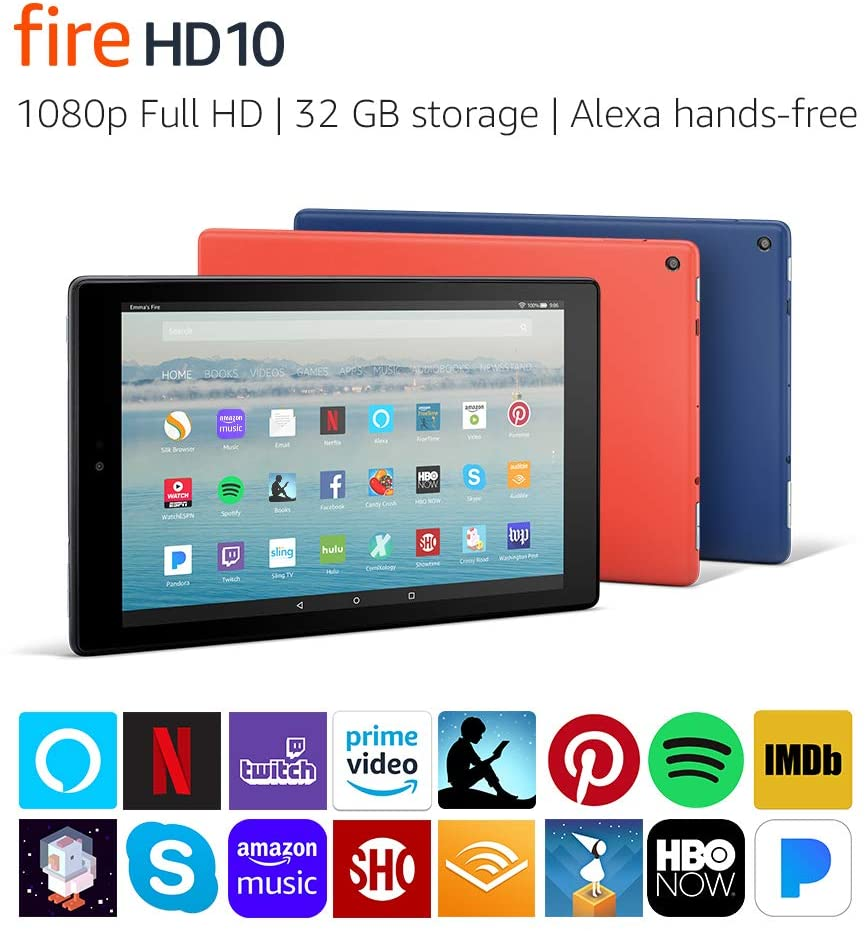 """Fire HD 10 Tablet with Alexa Hands-Free, 10.1"""" 1080p Full HD Display, 32 GB, Black (Previous Generation - 7th)"""